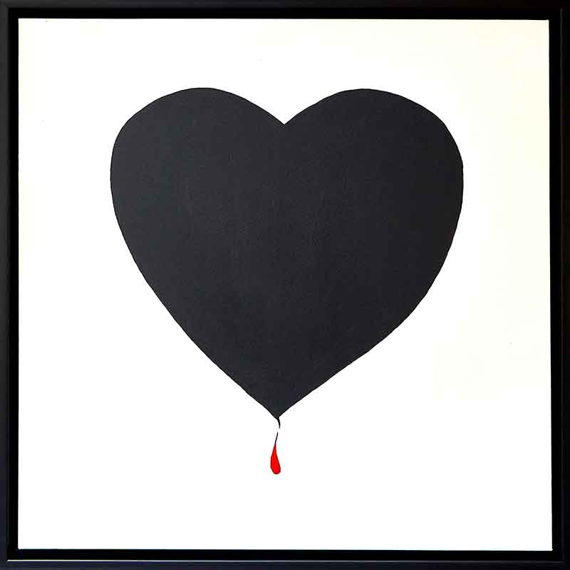 "We all bleed red by Chuck Prescott | 30X30 in | Acrylic on Canvas | Black frame ""We all say words, we all regret, we all cry tears, we all bleed red. Sometimes we're strong, sometimes we're weak. Sometimes we're hurt and it cuts deep."""